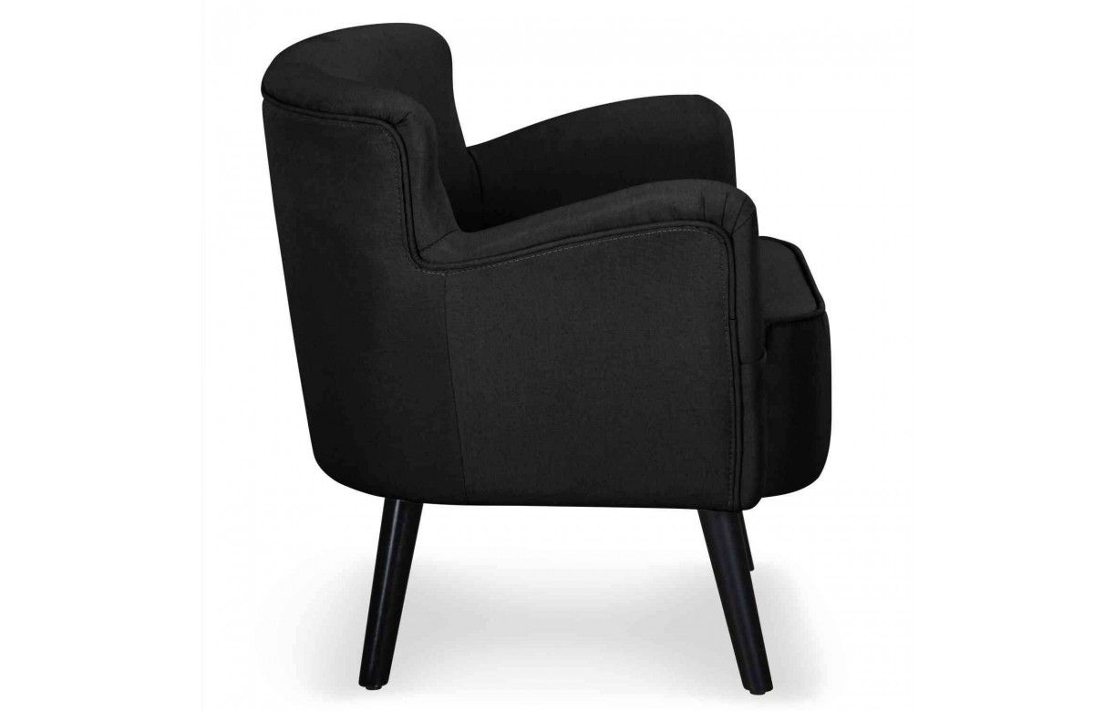 fauteuil en tissu noir beige ou rouge style scandinave berny. Black Bedroom Furniture Sets. Home Design Ideas