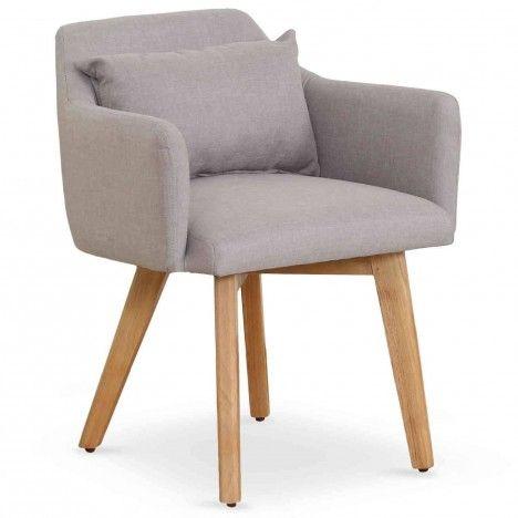 Fauteuil chaise style scandinave en tissu et pieds en bois -