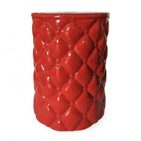Pouf effet capitonné en céramique noir blanc ou rouge -