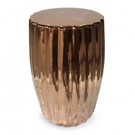 Pouf tronc d'arbre en céramique doré argenté ou or rose -
