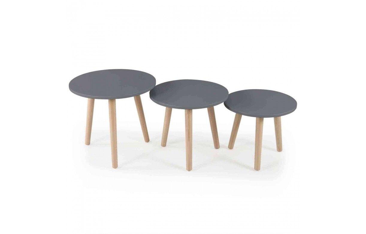 Lot de 3 petites tables rondes bois clair et noir - Tables basses rondes en bois ...