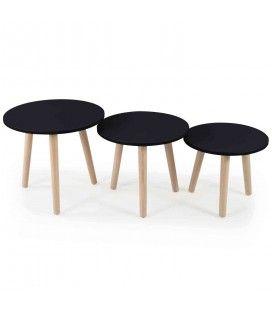 Lot de 3 petites tables rondes bois clair et noir