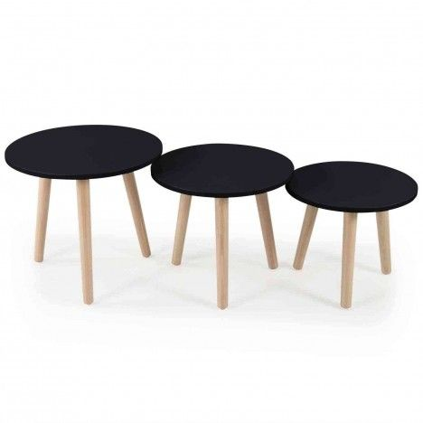 Lot de 3 petites tables rondes bois clair et noir -