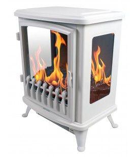 Foyer cheminée électrique blanche flamme 3D Fire GLass -