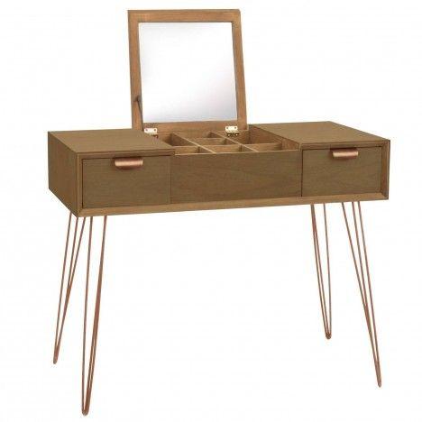 meuble coiffeuse en bois avec miroir intgr janice