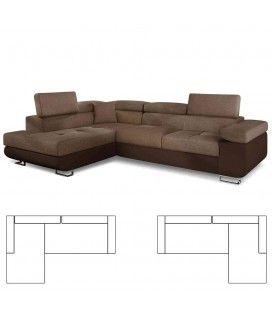 Canapé d'angle avec têtières en tissu et simili cuir marron