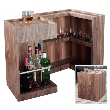 mini bar range bouteilles en bois noyer. Black Bedroom Furniture Sets. Home Design Ideas