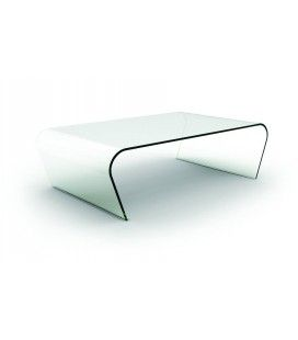 Table basse fixe en verre transparent Betsy