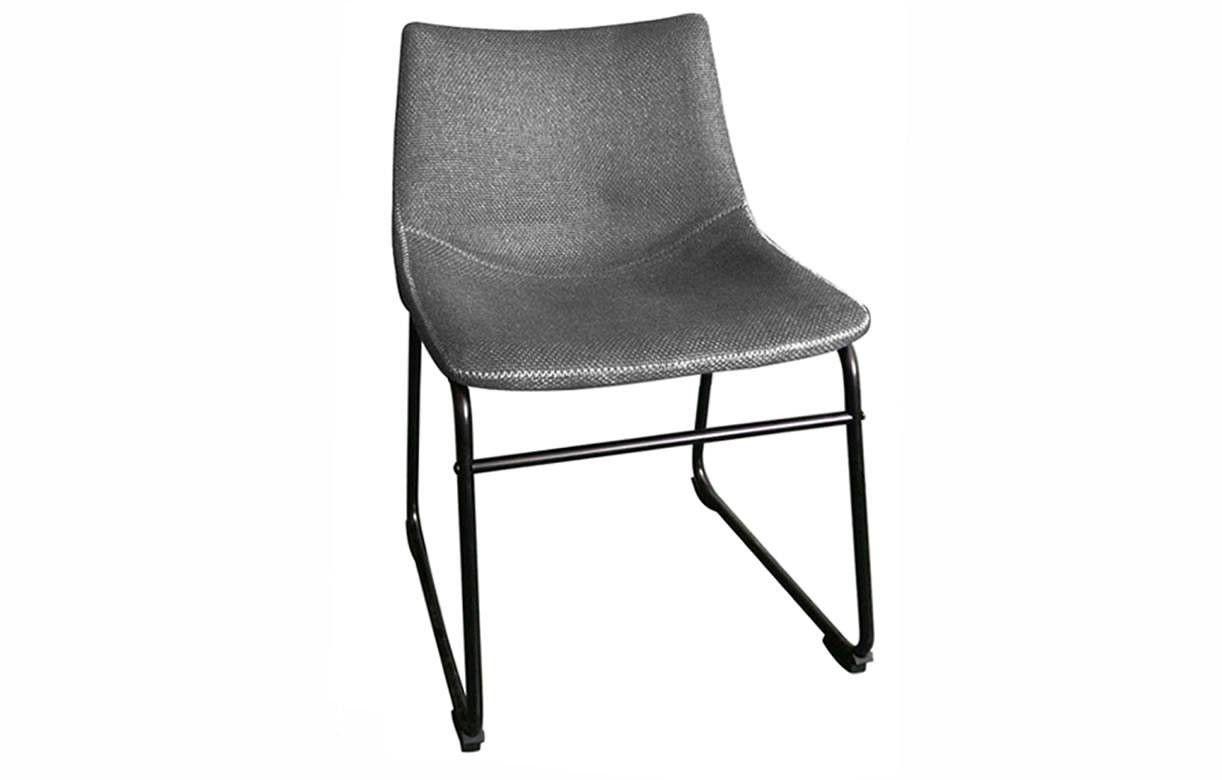 chaise m tal noir et tissu effet lin taupe ou gris lot de 2. Black Bedroom Furniture Sets. Home Design Ideas