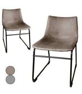 Chaise métal noir et tissu effet lin taupe ou gris - Lot de 2