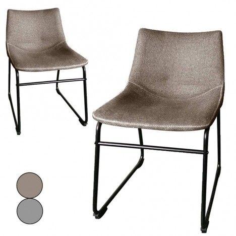 Chaise métal noir et tissu effet lin taupe ou gris - Lot de 2 -