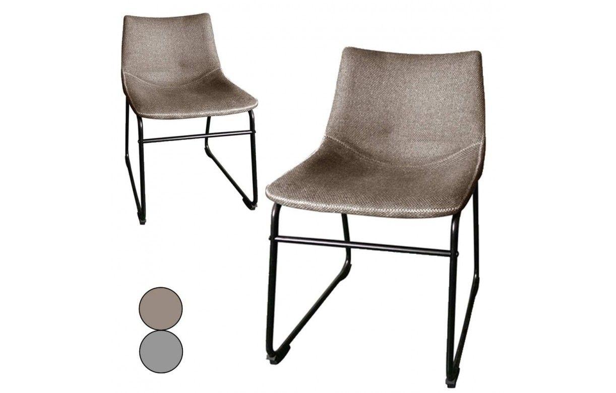 chaise m233tal noir et tissu effet lin taupe ou gris lot de 2