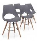Ensemble de 4 chaises blanches bois et métal style scandinave -