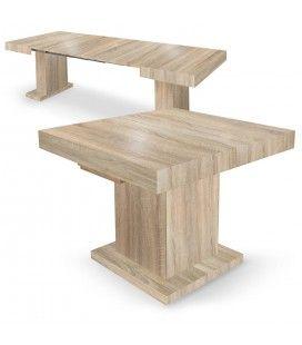 Table extensible rallonges intégrées bois chêne clair Muse -