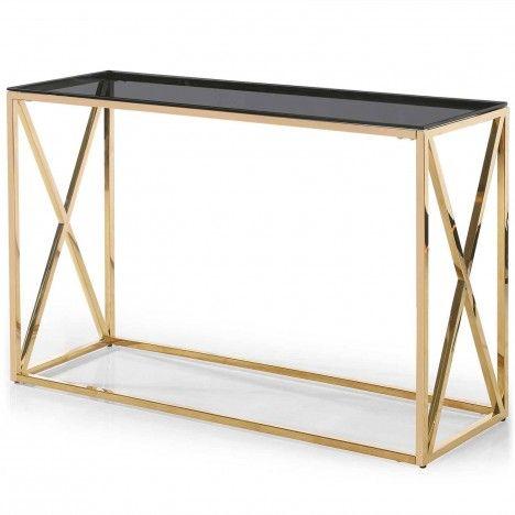 Console en métal doré et plateau en verre fumé Star -