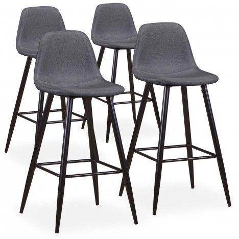Chaise de bar en tissu gris bleu ou beige - Lot de 4 -