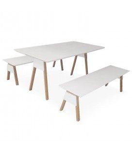 Ensemble table et bancs blanc et bois chêne clair Ema -