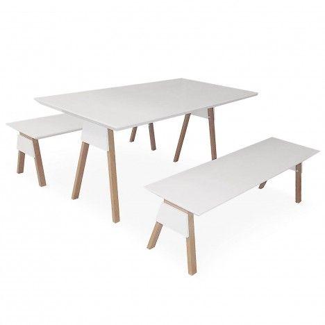 Ensemble Table Et Bancs Blanc Et Bois Chêne Clair Ema