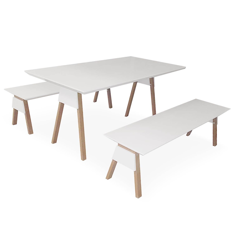 Table En Bois Chene Clair ensemble table et bancs blanc et bois chêne clair ema