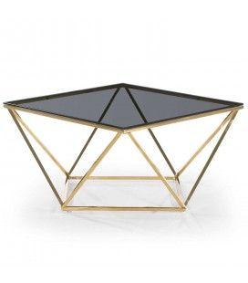Table basse carré design en métal doré plateau verre fumé Star