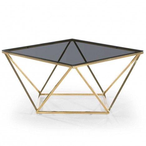 Table basse carré design en métal doré plateau verre fumé Star -