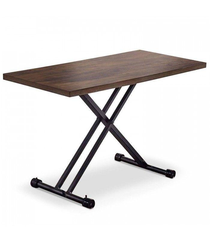Table Basse Relevable Gain De Place En Bois Chene Fonce