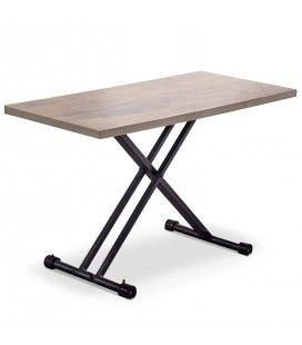 Table basse relevable bois clair et pieds noirs Folk -