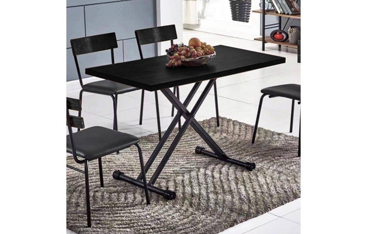 table basse noir relevable gain de place folk. Black Bedroom Furniture Sets. Home Design Ideas