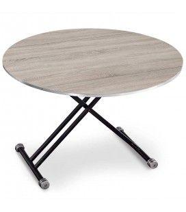 Table basse relevable et extensible ronde Rey - 3 coloris