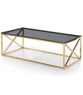 Table basse en métal doré et plateau en verre fumé Star