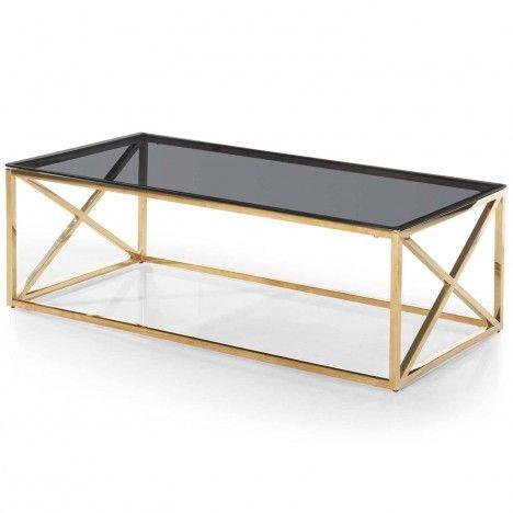 Table basse en métal doré et plateau en verre fumé Star -