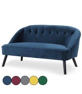 Canapé 2 places en velours capitonné Yann - 5 coloris