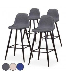Chaise de bar en tissu gris bleu ou beige - Lot de 4