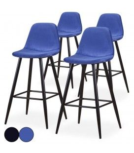 Chaise de bar en velours noir ou bleu - Lot de 4