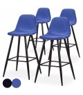 Chaise de bar en velours noir ou bleu - Lot de 4 -
