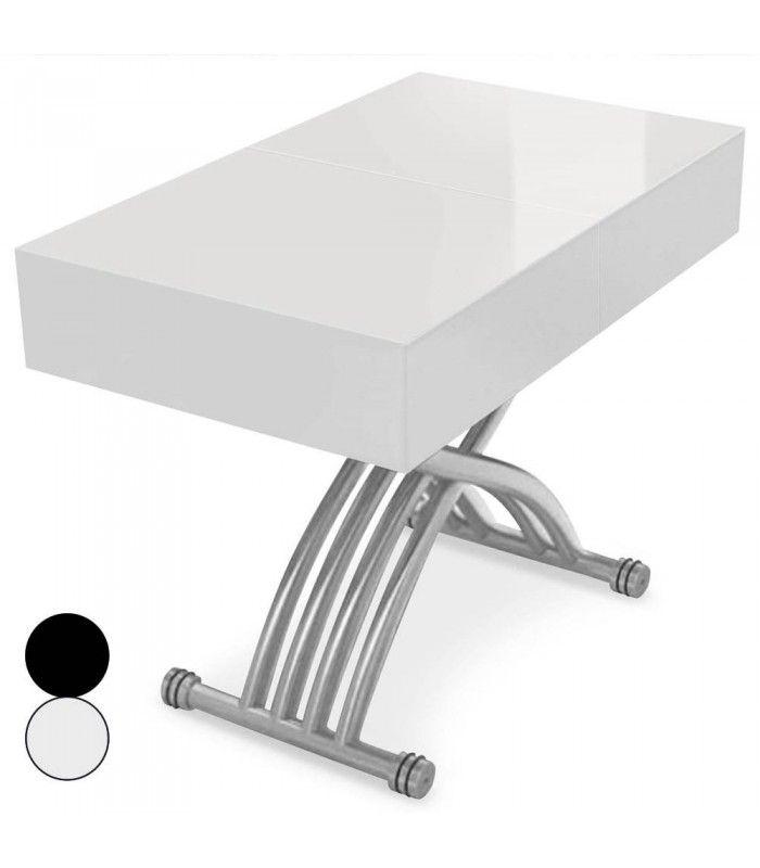Table basse relevable et extensible blanche ou noire - Tables basses relevables extensibles ...