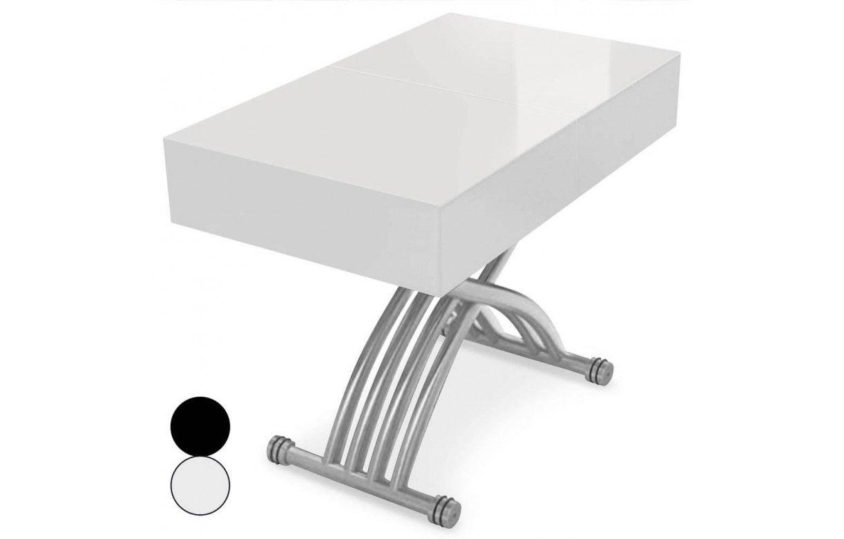 Table basse relevable et extensible blanche ou noire - Table noire et blanche ...