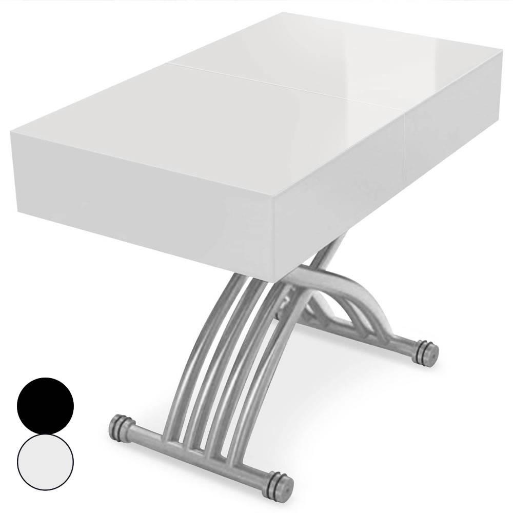 Table basse relevable et extensible blanche ou noire