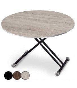 Table basse relevable et extensible ronde Rey - 3 coloris -