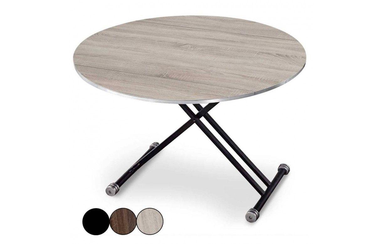 Table basse relevable et extensible ronde rey 3 coloris - Table haute et basse ...