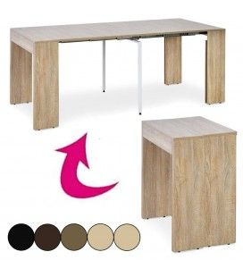 Table console extensible 3 rallonges Pablo - 5 coloris -