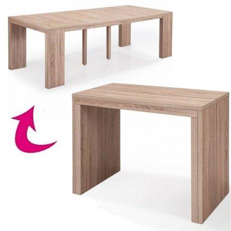 Table console extensible à rallonges en bois chene clair Sabine -