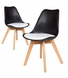 Chaise scandinave noir et blanc en bois - Lot de 2
