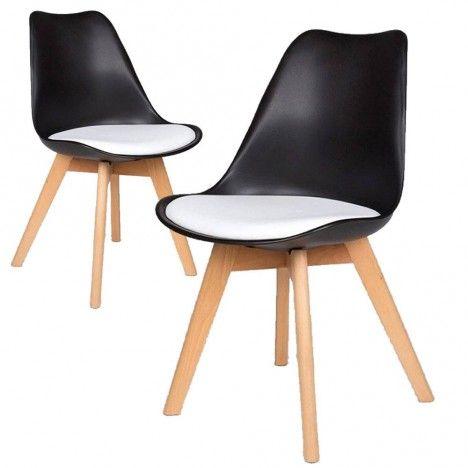 Chaise scandinave noir et blanc en bois - Lot de 2 -