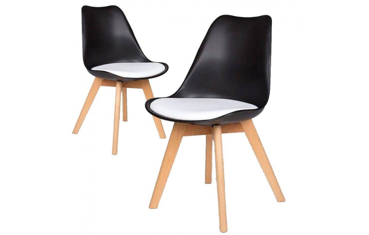 Chaise scandinave noir et blanc en bois lot de 2 - Chaise noir et bois ...