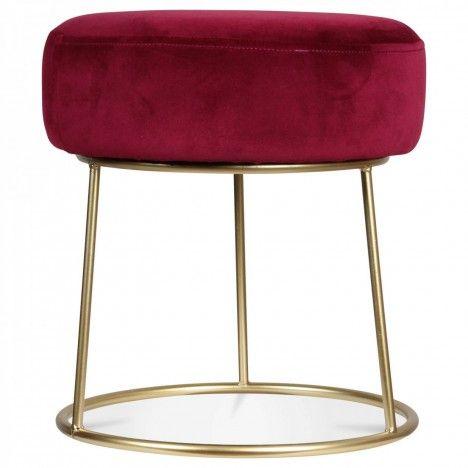 Pouf tabouret rond rouge en velours et pied métal Lilie -