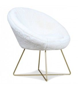 Fauteuil loveuse blanc ultra doux fourrure cocooning Lilie