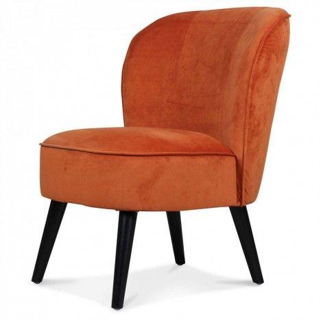 Fauteuil crapaud en velours orange Nora -