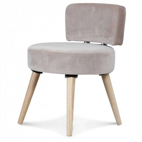 Petit fauteuil chaise velours beige et pieds bois clair Lilie