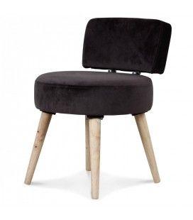 Petit fauteuil chaise velours gris foncé et pieds bois clair Lilie